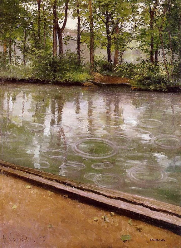 G. Caillebotte   LYerres, pluie Regen rain 580x797 Regendag in de kunst